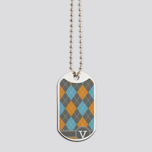 441_argyle_monogram_orange_v Dog Tags