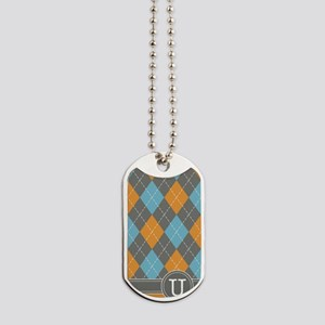 441_argyle_monogram_orange_u Dog Tags