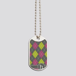 441_argyle_monogram_pink_h Dog Tags