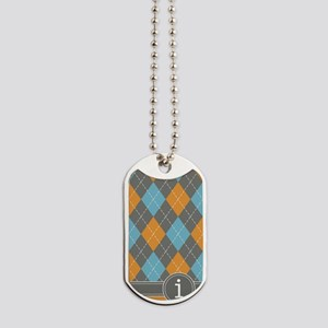 441_argyle_monogram_orange_i Dog Tags