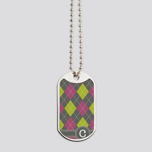 441_argyle_monogram_pink_c Dog Tags