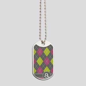 441_argyle_monogram_pink_a Dog Tags