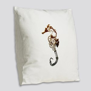 Industrial Sea Horse Burlap Throw Pillow