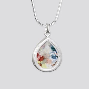 Watercolor Tutus Silver Teardrop Necklace