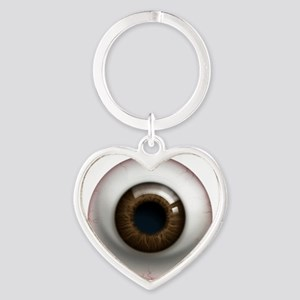 16x16_theeye_browndark Heart Keychain