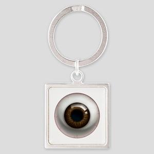 16x16_theeye_browndark Square Keychain