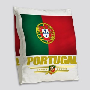 Portugal (Flag 10) Burlap Throw Pillow