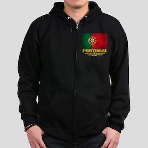 Portugal (Flag 10) Zip Hoodie (dark)