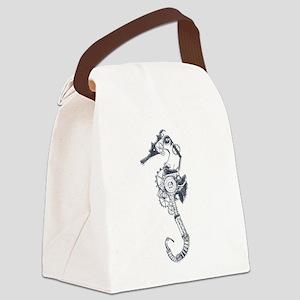 Silver Industrial Sea Horse Canvas Lunch Bag