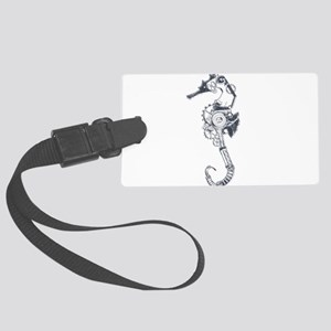 Silver Industrial Sea Horse Large Luggage Tag