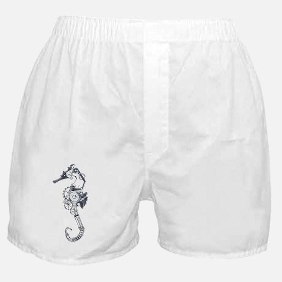 Silver Industrial Sea Horse Boxer Shorts