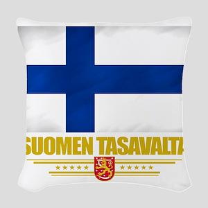 Finland (Flag 10) Woven Throw Pillow