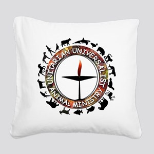 UUAM LOGO - 3x3 with animals  Square Canvas Pillow