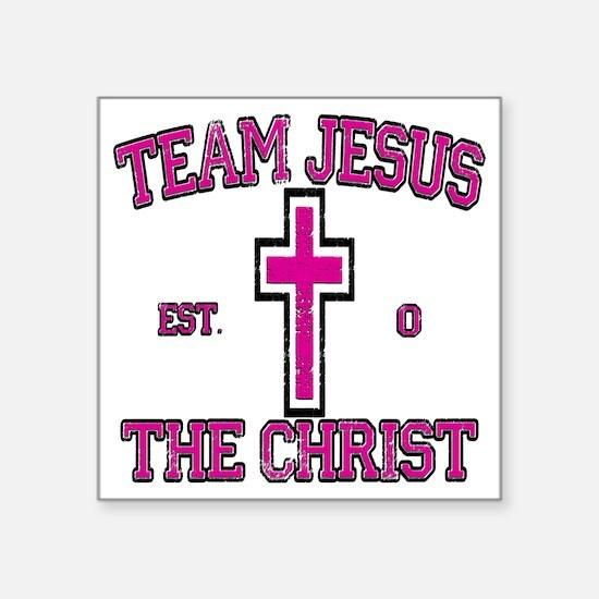 "team jesus the christ pink Square Sticker 3"" x 3"""