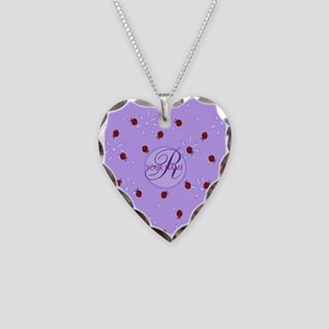 Lavender Purple Lady Bug Monogram Necklace Heart C