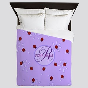 Lavender Purple Lady Bug Monogram Queen Duvet