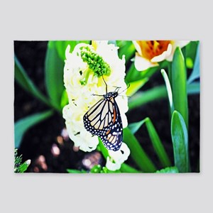 Monarch Butterfly and Hyacinth 5'x7'Area Rug