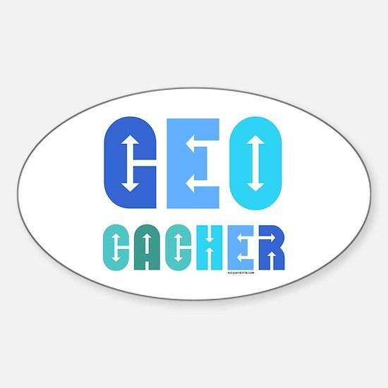 Geocacher Arrows Blue Oval Decal