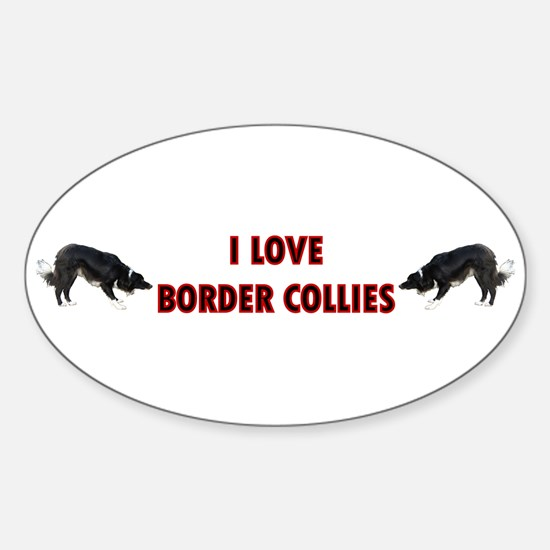 I Love Border Collies Oval Decal