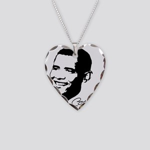 obamas Face with sig Necklace Heart Charm