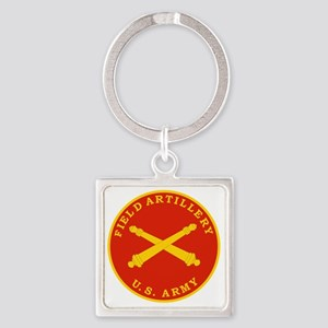Field Artillery Seal Plaque Square Keychain