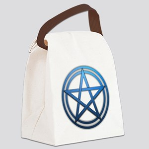 Blue Metal Pagan Pentacle Canvas Lunch Bag