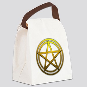 Gold Metal Pagan Pentacle Canvas Lunch Bag