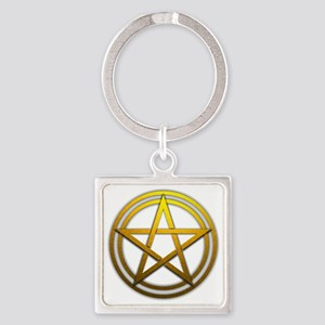Gold Metal Pagan Pentacle Square Keychain