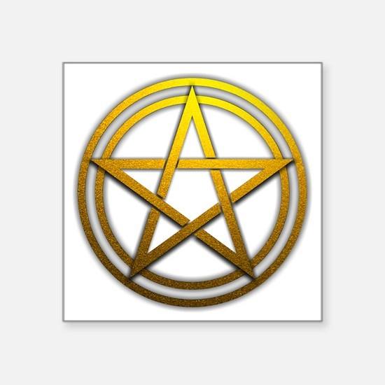 "Gold Metal Pagan Pentacle Square Sticker 3"" x 3"""