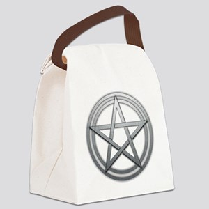 Silver Metal Pagan Pentacle Canvas Lunch Bag