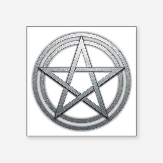 "Silver Metal Pagan Pentacle Square Sticker 3"" x 3"""