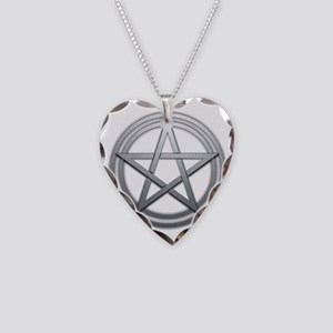 Silver Metal Pagan Pentacle Necklace Heart Charm