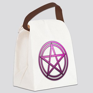 Pink Metal Pagan Pentacle Canvas Lunch Bag