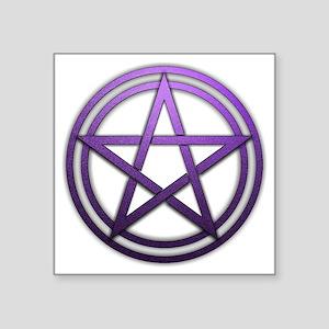 "Purple Metal Pagan Pentacle Square Sticker 3"" x 3"""