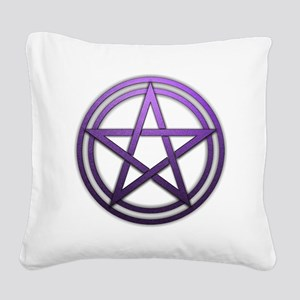 Purple Metal Pagan Pentacle Square Canvas Pillow
