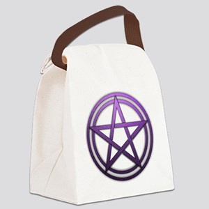 Purple Metal Pagan Pentacle Canvas Lunch Bag