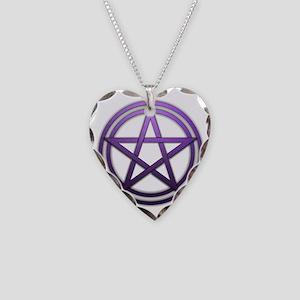 Purple Metal Pagan Pentacle Necklace Heart Charm