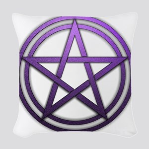 Purple Metal Pagan Pentacle Woven Throw Pillow