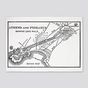athensandpiraeusmap(btsfd193) 5'x7'Area Rug