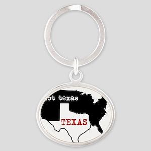 Texas / Not Texas Shirt Oval Keychain
