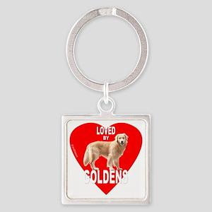 LovedByHeartRedMerge Square Keychain