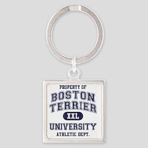 Boston-Terrier-University Square Keychain