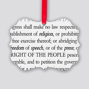 First-Amendment-(white-shirt) Picture Ornament