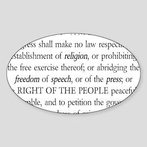 First-Amendment-(white-shirt) Sticker (Oval)