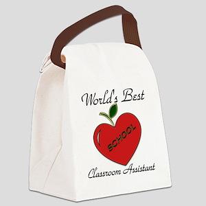 Worlds Best Teacher Apple class a Canvas Lunch Bag