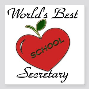 "Worlds Best Teacher Appl Square Car Magnet 3"" x 3"""