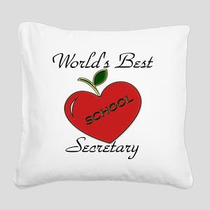 Worlds Best Teacher Apple sec Square Canvas Pillow