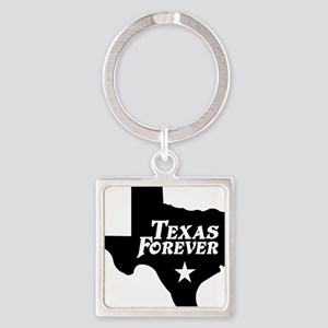 state-texas-forever-star-black Square Keychain