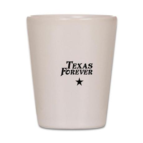 state-texas-forever-star-white-black Shot Glass