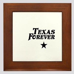 state-texas-forever-star-white-black Framed Tile